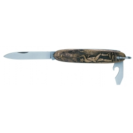 couteau canif navette,  motif chiens, sur manche laiton