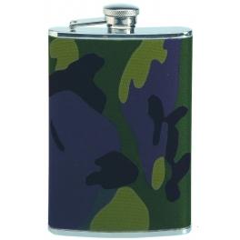 flasque inox, 240ml,gainee toile, bouchon baionnette