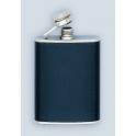 flasque inox, 90ml,gainee cuir, bouchon baionnette