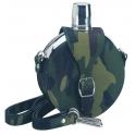 flasque inox, ronde, 240ml,gainee toile avec gobelet