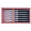 coffret de 6 couteaux Laguiole, G.David, ebene, lame guillochee