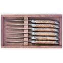 coffret de 6 couteaux Laguiole, G.David, olivier, lame guilloche