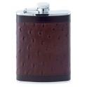 flasque inox,240ml, gainee cuir autruche, bouchon baionnette