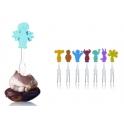 mini fourchettes, avec figurines en couleurs