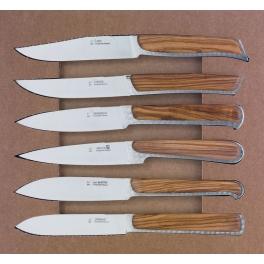 coffret Fontenille Pataud, coffret de 6 couteaux en olivier