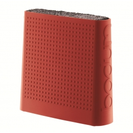 bloc a couteaux Bodum, en silicone rouge