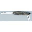 couteau canif navette,  motif bricolage, sur manche laiton