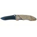 couteau Crossnar, lame noire en acier 440, manche camoufle